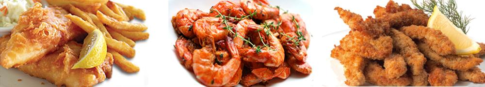 Calamari, prawns and fish